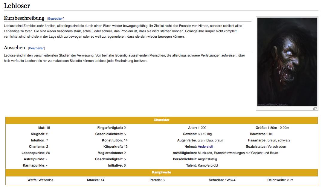 Beispielseite Monster im Wiki