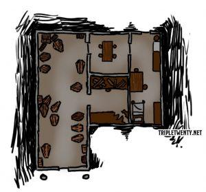 Karte des Ladens des Sargmachers
