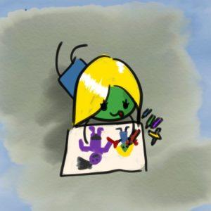Erika malt mit Wachsmalstiften ein Bild von sich und dem Troll, dem sie geholfen hat